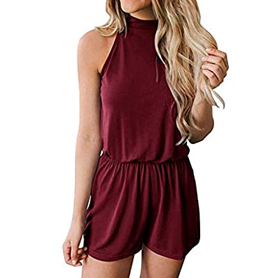 JustWin Women's Summer Sleeveless Back Openwork Shorts Solid Color Round Neck Hollow Out Elastic Waist Pocket Playsuit