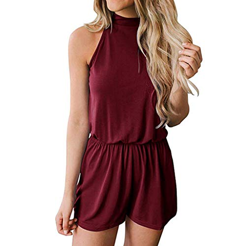 GREFER Jumpsuits Women Summer Sleeveless Cold Shoulder Elastic Waist Rompers Casual Pockets Playsuit Wine ()