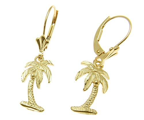 14k Tree Palm (14K solid yellow gold medium Hawaiian diamond cut palm tree leverback earrings)