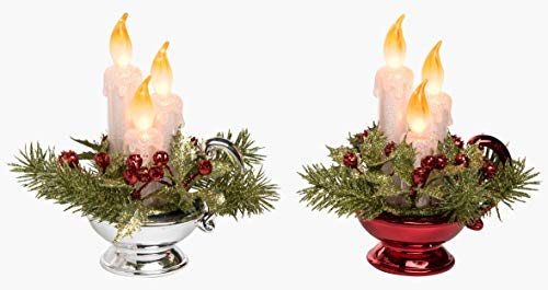 Light Up Candle Red and Silver 8 x 5 Acrylic Christmas Centerpieces Set of 2 -