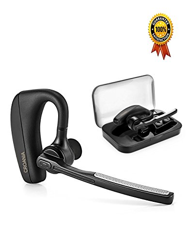 Crown Headset Microphone - Bluetooth Headphones, CROANIA Wireless Earbuds Painless Light Weight Stereo Bluetooth Headset V4.1 Earphones with Mic and Carrying Case for iPhone Samsung iPad Android Phones One Pcs Earpiece (Black)