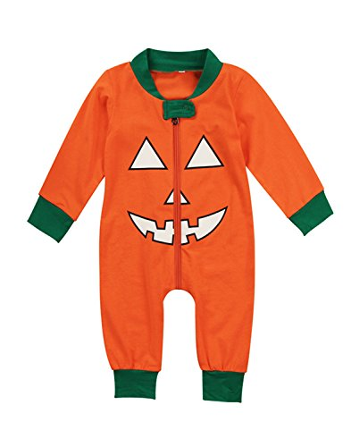 2 Style Baby Boy Girl Pumpkin Halloween Costume One Piece Pajamas Sleepwear&Kids Pumpkin T-Shirt Pants Halloween Outfit (18-24 Months, One -