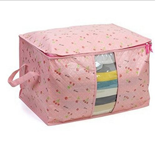 Quilt Cloth Blanket Pillow Fabric Storage Organizer Container Bag Transparent Window Bamboo Charcoal Box Under Bed Closet Case Folding Plaid Non-woven (Cherry) (Curten Window)