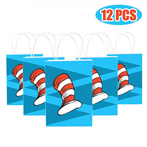 Happy Storm Cat's Hat Goodie Bags Cat Knows A Lot About That Birthday Party Supplies Favor Small Paper Gift Bags Goods Filling with Candies Toys Goods For Kids Baby Shower Party Decorations (12 packs)]()