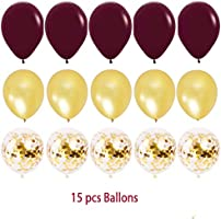 Wine Burgundy Champagne Gold Bridal Shower Decorations//Fall Wedding Decorations Big Size Burgundy Tissue Pom Pom Maroon Gold Ballons Bride to Be Banner Burgundy Wedding Party Decorations Qian/'s Party