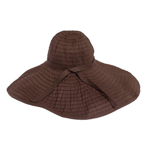 """Jeanne Simmons Womens 8"""" Shapeable Brim Packable Floppy Hat (Chocolate)"""