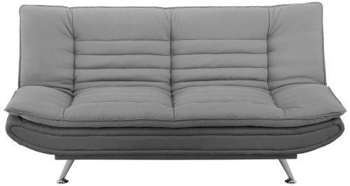 AC-Design-Furniture-47391-Schlafsofa-Jasper-Sitz-und-Rcken-Stoff-hellbrau-Rahmen-Stoff-dunkelgrau-Fe-Metall-verchromt-Liegeflche-ca-196-x-123-cm