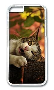 MOKSHOP Adorable funny cat bite Hard Case Protective Shell Cell Phone Cover For Apple Iphone 6 (4.7 Inch) - PC Transparent