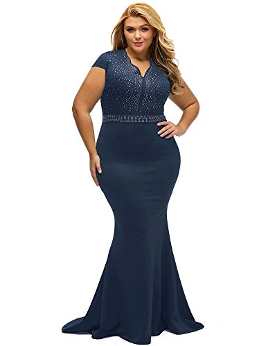 Plus Size Evening Dresses (Lalagen Women's Short Sleeve Rhinestone Plus Size Long Cocktail Evening Dress Navy XXL)