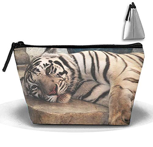 Tiger Clutch (Cosmetic Bags Tired Tiger Portable Travel Toiletry Pouch Clutch Bag with Zipper)