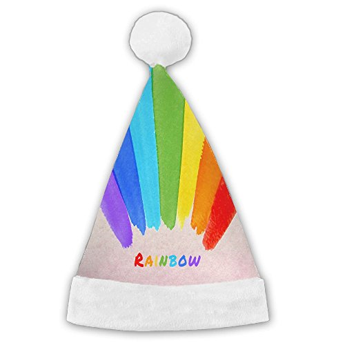 Hand Drawing Rainbow Santa Hat Full Printing Fashion Perfect For All Family Christmas Custom Cap (Christmas Drawings Scenery)