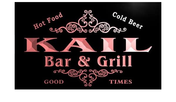 Amazon.com: u22453-r KAIL Family Name Bar & Grill Home Beer Food Neon Sign: Home & Kitchen