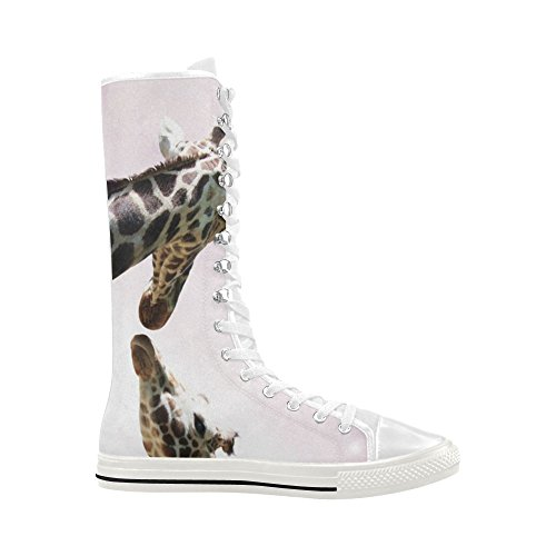 D-Story Two Giraffes Lace Up Tall Punk Dancing Canvas Long Boots Sneakers Shoes For Women xr9eDcI
