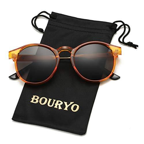 BOURYO Small Round Retro Sunglasses Circle Lens ()