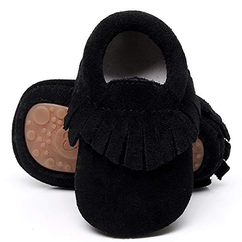 HsdsBebe Toddler Baby Boy Girl Suede Moccasins Genuine Leather Hard Rubber Sole First Walkers Tassels Crib Shoes (12-18 Months M US Infant, Black)
