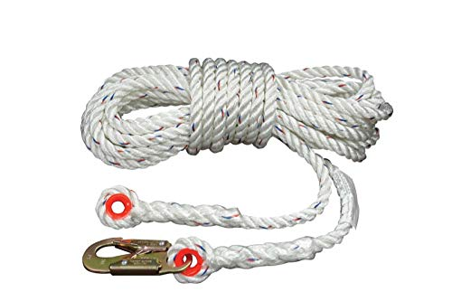 Elk River 49824 Polyester/Polypropylene Construction Plus Lifeline Rope with Snaphook and Thimble Eye Connector, 5/8