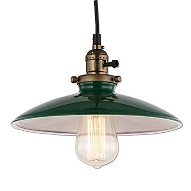 JEMMY HO Metal Warehouse Pendant Lamp Dia 10 Inch Mini Vintage Industrial Barn Pendant Light (Green)