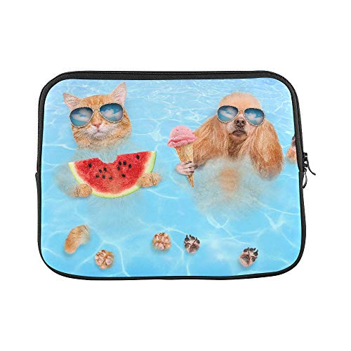 (Design Custom Cat and Dog Wearing Sunglasses Relaxing in The Sea Sleeve Soft Laptop Case Bag Pouch Skin for MacBook Air 11