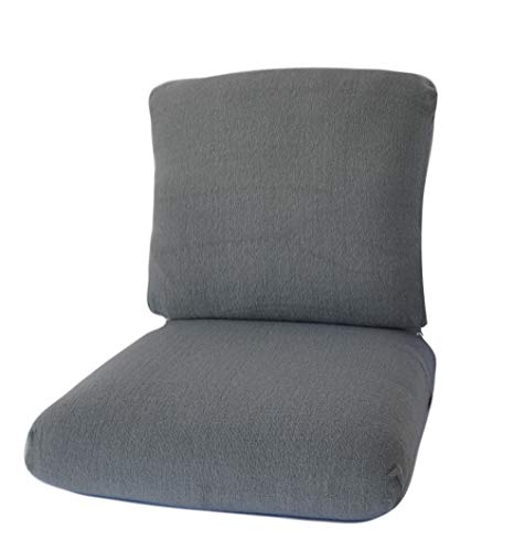 CushyChic Outdoors Terry Slipcovers for Deep Seat Patio Cushions, 2 Piece in Cool Medium Grey - Slipcovers ONLY - Cushion Insert NOT Included (Inch Patio Cushions Deep 26)