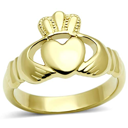 Women's Stainless Steel Ip Gold Plated Irish Celtic Claddagh Ring,Size:5 ()