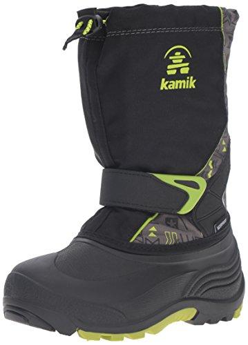 [Kamik Kids' Sleet2 Snow Boot, Black/Lime, 4 M US Big Kid] (Boys Boots Sale)