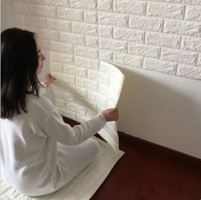 3D PE Foam DIY Wall Stickers Paper Embossed Brick Stone Office Home Room Decor A