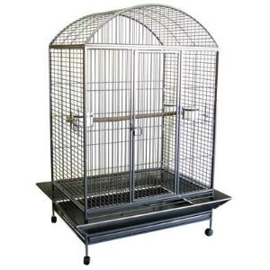Extra Large Wrought Iron Bird Cage Parrot Cages Macaw Dometop 40″x30″x67″ *Black Vein*, My Pet Supplies