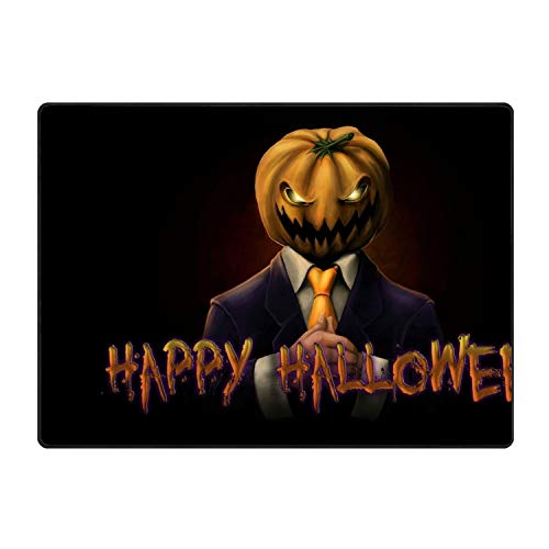Door Mat Happy Halloween Sir Pumpkin Non-Slip Stain Fade Resistant Soft Living Dining Room Rug for Front Door Entrance Outside Doormat 60x39(in) -