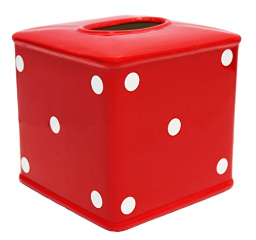 (Tuscany RED Polka Dot Ceramic Tissue Box Cover, 84287 by ACK)