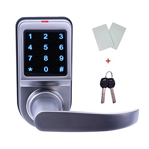 EZlock ELC04 Backlit Keyless Touchscreen Door Lock with Reversible Handle and Passage Function, Unlock with Card, Code, Mechanic Keys - Silver EZEC