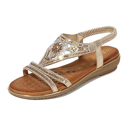 Toimothcn Bohemia Crystal Flat Sandals Women Casual Elastic Strap Peep Toe Shoes Beach Sandals (Gold4,US:7)