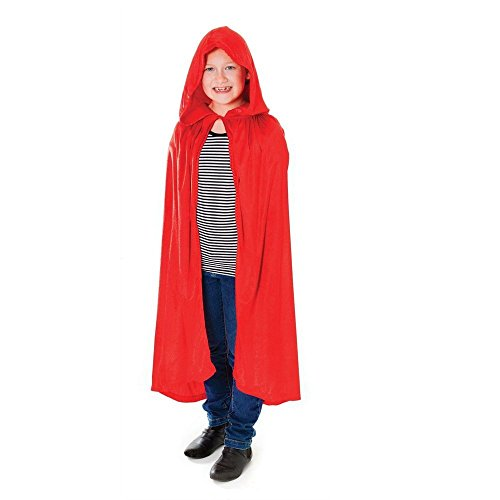Kids Velvet Halloween Costume Long Witch Vampire Hooded Cloak Cape Fancy Dress Outfit (Girl Joker Halloween Costume)