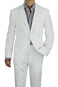 B00LTC1LQ0 Gino Valentino Men's Modern Fit Two Button Two Piece Linen Suit (42 Long US / 52 Long EU, White)