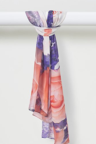 Spring Rose Pure Smooth Silk Chiffon Shawl in Peach Purple White by Louis Jane  (''Where Nature Meets Art''TM)