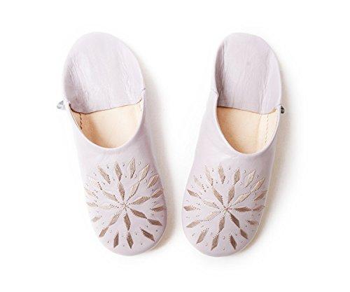 Cara Marocchino Ricamo Pantofole In Pelle Di Pecora Lavanda