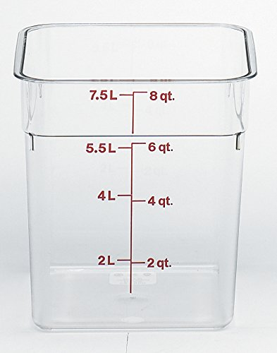 Cambro 8SFSCW135 CamSquare Food Storage Containers, Set of 2 (8-Quart, Polycarbonate, NSF)