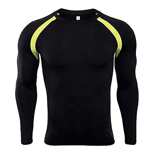 Tights Sublimated (Men's Fitness Clothes,AmyDong Long Sleeve Round Neck Tight-Fitting Quick-Drying Stitching T-Shirt Bodybuilding Skin Tops)