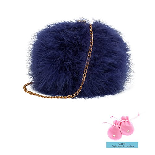 Zarapack Women's Genuine Fluffy Feather Fur Round Clutch Shoulder Bag (Blue)