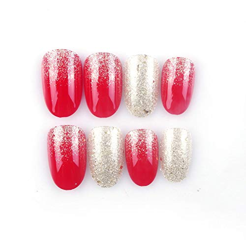 24 Pcs Red Full Cover Short False Gradient Gold Powder Glitter Nails Gel Nail Art Tips Sets for Christmas Decals,Decoration ()