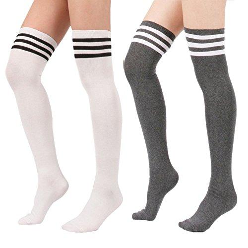 (Zando Women Stripe Tube Dresses Over the Knee Thigh High Stockings Cosplay Socks 2 Pairs White Gray)