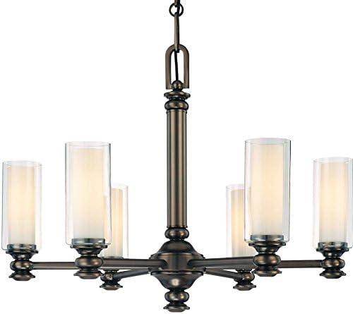 Minka Lavery Chandelier Pendant Lighting 4366-281, Havard Ct. Glass 1 Tier Dining Room, 6 Light, 360 Watts, Bronze