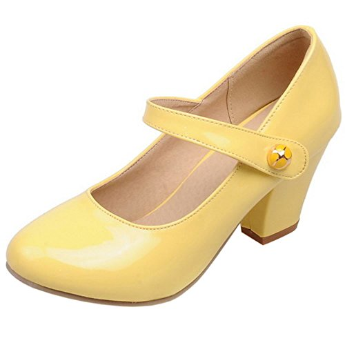 Women Ankle Block Yellow Pumps Zanpa Strap Heels Classic dXxdBO