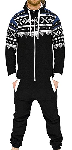 SkylineWears Men's Fashion Onesie Playsuit Jumpsuit one Piece non Footed Pajamas Onesies Large Black