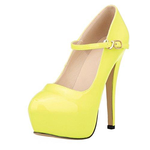 Amarillo Alto Correa Tobillo Tacón Mujer De Boda Plataforma Zapatos Hooh Hebilla Fluorescente Rw6ZRFxaq