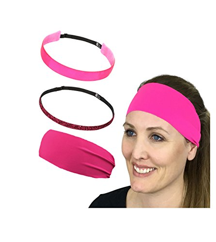 Bani Bands Women's and Girl's Variety 3 Pack Headband Set, Adjustable, Sports, Sparkle, Pink, 3 - Skinny Face Girl