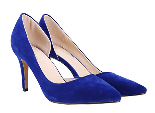 CAMSSOO Women's Pointed Toe D'orsay Stiletto Pump Blue neNeNG