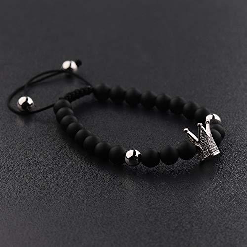 (Mikash Fashion Mens Cubic Zircon 24kt Gold Plated Crown Bracelet Bead Macrame Bracelet   Model BRCLT - 40107  )