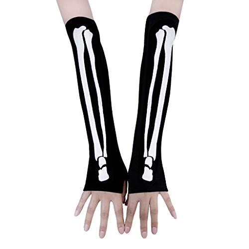 Halloween Cosplay Gothic Skeleton Glove Arm Warmer X-Ray Bone Fingerless Gloves - Skeleton Bone Gloves