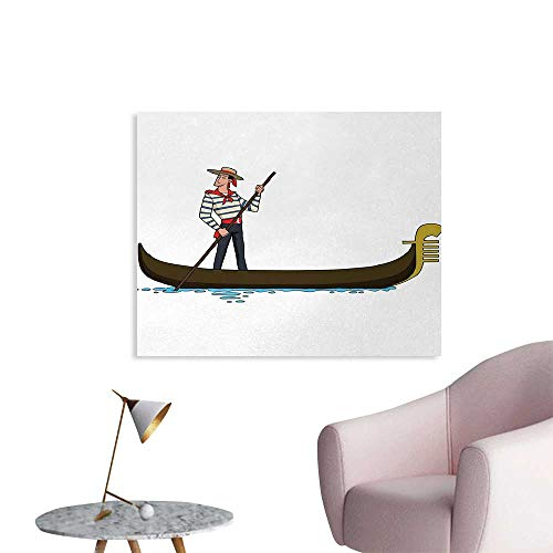 Tudouhoho Cartoon Cool Poster Image of Gondola in Romance City Venice European Symbol of Love Italian Decor Art Decor Decals Stickers Brown White W36 xL32 ()