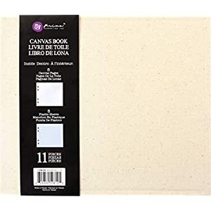 Prima Marketing Mixed Media Book 9″X7.5″X2″-(5) Canvas Pages & (5) Plastic Sleeves
